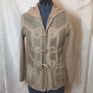 Vintage ladies suede and acrylic cardigan sweater